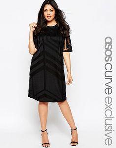 ASOS CURVE T-Shirt Dress In Geo Mesh - Shop for women's T-shirt - black T-shirt