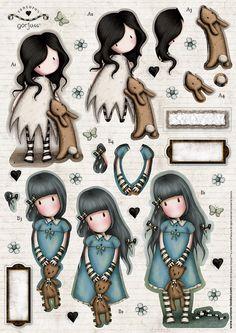 Belle And Boo, Santoro London, Decoupage Printables, Cute Cartoon Girl, Ideias Diy, Atc Cards, Borders For Paper, Cute Little Girls, Mixed Media Canvas