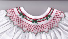Adorable Christmas smocking plate called Holly Berry Bishop by Cross Eyed Cricket