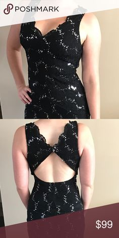 Size 9 Prom Military Ball Dress Black Open Back Beautiful dress with open back. Form fitting. Size 9 juniors; would fit a ladies size 6. Dresses Prom