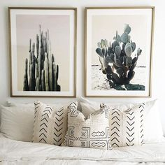 Mae woven Mudcloth pillows and cactus prints. /maewoven/ on Instagram.