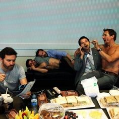 Chuck, young John, Gabriel, Castiel and Balthezar....love it!!! The amount of awesome in this picture. I cant even