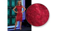 LA FEMME Cranberry on nude re-embroideed lace cocktail dress w/round neckline, slight cap sleeve, sheath style | Vanna White's dresses | Wheel of Fortune