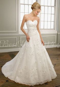 Satin A-line Floor-length With Applique And Criss Cross Bodice Wedding Dress