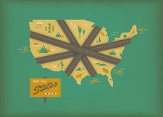 """USA map """"See the States"""" by Brent Couchman, designer of Google Now wallpapers"""