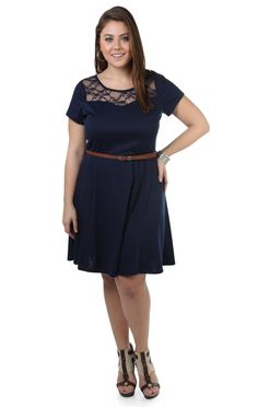 plus size belted skater dress with lace keyhole back - debshops.com