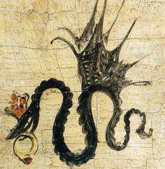 La Vouivre et son escarboucle | Insaisissable et redoutable, cette créature serpentine porte sur le front une pierre étincelante appelée escarboucle. Parée de son joyau qui éclaire son chemin, la Vouivre prend son envol à la tombée de la nuit pour aller chasser et s'abreuver dans les eaux calmes des rivières. Guidée par son escarboucle... | zimzimcarillon.canalblog.com | Serpent ailé avec une bague en rubis, (détail) - Lucas Cranach l'Ancien, 1514.