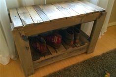 A friend had both a shoe organization problem, and two old wood pallets. This bench is simple and highlights the character of the weathered wood. It's also repeatable, so you can build one too.
