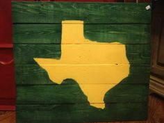 Texas painted in #Baylor colors on wood planks