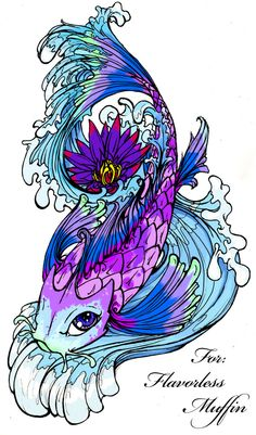 I love the purples and the detail of this tattoo design!