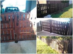 #Garden, #Gate, #PalletFence, #RecyclingWoodPallets Fence & portal made from discarded wooden pallets. Good ideas!