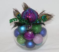 Peacock Christmas Centerpiece - Purple, Green, and Turquoise Unique Holiday Decoration - Holiday Hostess Gift - Peacock Christmas Decor