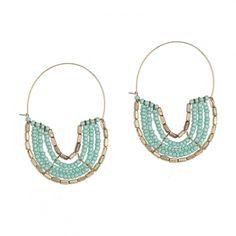 Boucles d'oreilles perles de rocaille turquoise