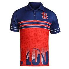 0443ab1af St Louis Cardinals Mens 2016 KLEW MLB Raglan Polyester Skyline Polo Shirt  Skyline