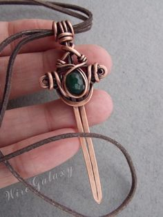 Pendant copper sword wiht chrysoprase by WireGalaxy on Etsy