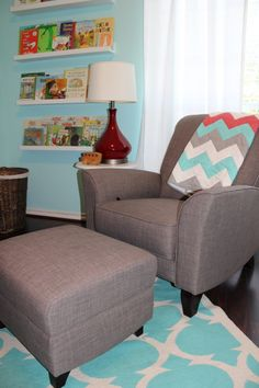 Love the #chevron #blanket that matches the crib bedding and changing table cover.  #red #aqua