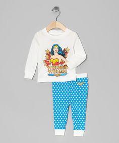Look at this #zulilyfind! White & Aqua Wonder Woman Pajama Set - Infant by DC Comics #zulilyfinds