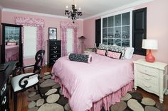 Houzz - very cute Paris themed bedroom...love the faux window!
