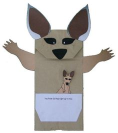 you can use a paper bag or toilet paper roll. kangaroo or el canguro Letter K Crafts, Alphabet Crafts, Alphabet For Kids, Bible Crafts, Book Crafts, Paper Bag Crafts, Toilet Paper Roll Crafts, Puppet Crafts, Cat Crafts