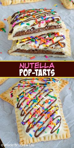 Nutella Pop Tarts – filling pie crust with Nutella and adding sprinkles makes these look just like store bought treats. Awesome breakfast re. Köstliche Desserts, Delicious Desserts, Dessert Recipes, Yummy Food, Filipino Desserts, Dinner Recipes, Tasty, Yummy Treats, Sweet Treats