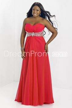 2014 Plus Size Floor-length Sweetheart Sleevelessss A-Line Chiffon Prom Dresses