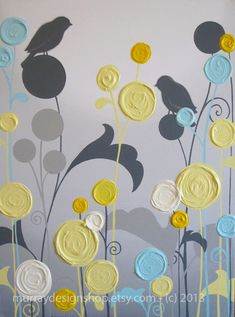 Wall Art Textured Yellow Grey and Aqua Flower by MurrayDesignShop