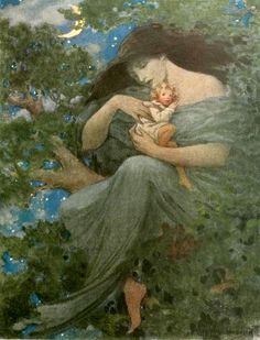 Jessie Willcox Smith - North Wind in Beech Tree with a Child from At the back of the North Wind by George MacDonald (1919)