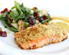 Almond-crusted fish with wilted spinach and garlic salad