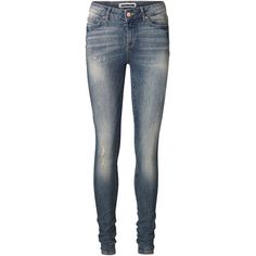 Vero Moda Destroyed Lucy Slim Fit Jeans ($18) ❤ liked on Polyvore featuring jeans, pants, bottoms, spodnie, medium blue denim, slim jeans, torn jeans, distressed jeans, ripped jeggings and distressed jeggings