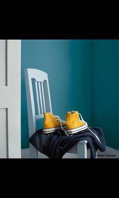 Couleur peinture entr e maison bleu canard escalier gris for Moquette bleu canard