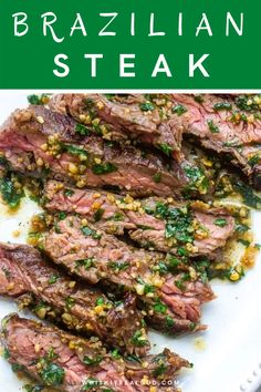 Brazilian Steak, Easy Cooking, Cooking Recipes, Garlic Butter Sauce, Juicy Steak, Skirt Steak, Steak Recipes, 4 Ingredients, Easy Meals
