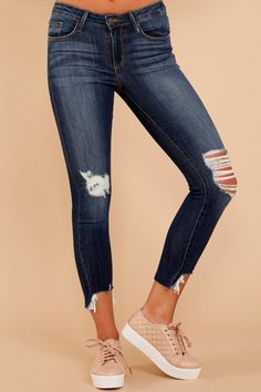I'm Torn Dark Wash Distressed Skinny Jeans at reddressboutique.com