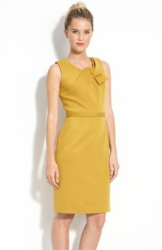 """""""Cleo"""" Dress in honey kiss or mountain mist  Hidden back zip with hook-and-eye closure.Approx. length from shoulder to hem: regular 37"""".Fully lined. Polyester/viscose rayon/elastane; dry clean. By T Tahari; imported."""