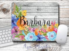 Watercolor Flowers - Weathered Wood - Monogrammed - Mouse Pad - Desk Accessory…