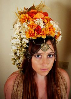 Available on Etsy!  https://www.etsy.com/listing/184567072/orange-flower-boho-headdress-cream-and?ref=related-3  A beautiful handmade floral headdress, perfect for weddings, festivals, costumes, etc. Cream, tangerine and fuchsia flowers complemented by ivory ostrich feathers and antique gold jewelry. The piece is lined, fits like a visor, and is very lightweight.
