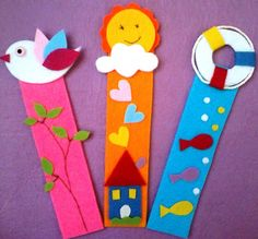 DIY paper craft, marque page Bookmark Crochet, Felt Bookmark, Bookmark Craft, Origami Bookmark, Crafts To Do, Felt Crafts, Easy Crafts, Crafts For Kids, Arts And Crafts