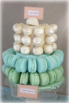 Bubble and Sweet: Pearly Cake Pop and Macaron Tower for the Mermaid Party tutorial Mermaid Theme Birthday, 7th Birthday, Birthday Party Themes, Birthday Cake, Macaron Tower, Macaron Cake, Pearl Cake, Little Mermaid Parties, Mermaid Cakes