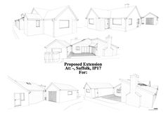 Plans for extensive single storey bungalow extension forming a massive living room, kitchen and dining room. A smaller single storey extension has been formed to the side of the house forming an en-suite. House Extension Plans, House Extension Design, Extension Designs, Rear Extension, Bungalow Extensions, House Extensions, Home Building Design, Building A House, Room Kitchen