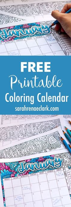 Free Printable Coloring Calendar with BONUS tutorial on how to create shadows with colored pencils | For more free printables and coloring pages, visit http://www.sarahrenaeclark.com