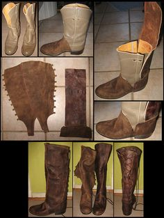 """Stellarreverie: ""I bought a pair of used cowboy boots and some lambskin, drafted a pattern and after sewing them, glued the new leather parts on the old boots with contact cement"" "" LARP costumeArwen's riding Boots Costume Tutorial, Cosplay Tutorial, Cosplay Diy, Larp, Old Boots, Cowboy Boots, Western Boots, Costumes Faciles, Steampunk Accessoires"