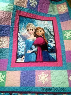 Now available!  Frozen Twin size Quilt featuring Anna, Elsa by SeamsTooGood on Etsy
