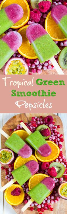 Tropical green smoothie popsicles.The perfect treat for hot summer days! Healthy, vegan, delicious, and so refreshing.