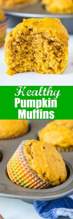Healthy Pumpkin Muffins - light and fluffy pumpkin muffins filled with lots of warm fall spices. And they just happen to be good for you! Best Breakfast Recipes, Brunch Recipes, Snack Recipes, Dessert Recipes, Muffin Recipes, Breakfast Ideas, Healthy Muffins, Healthy Eating Recipes, Delicious Desserts