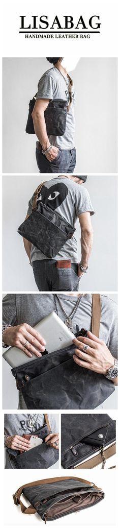 Handmade Waxed Canvas Messenger Bag Crossbody Bag Sling Bag Small Satchel MBL10