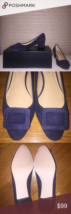 Talbots Fiana Buckle Heels My mom bought these shoes from Talbots. Brand new with box. Never worn since they don't fit her. The color is Indigo Blue. The material is suede and very delicate (it collects dust.) Heels are 2 inches. Thanks for looking. Happy Poshing! 👠👠 Talbots Shoes Heels