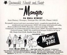 Manger Hotel Savannah Georgia 300 Rooms w Bath AC Radio 1956 Travel Tourism AD