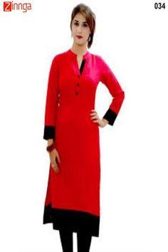 VELENTINO TREND-Red Color Cotton Stitched Kurti - VLT 034