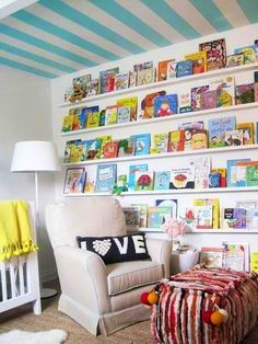 Wall of books #PrimroseReadingCorner  Love how the books almost reach the ceiling. And the books are the main focus of the room.