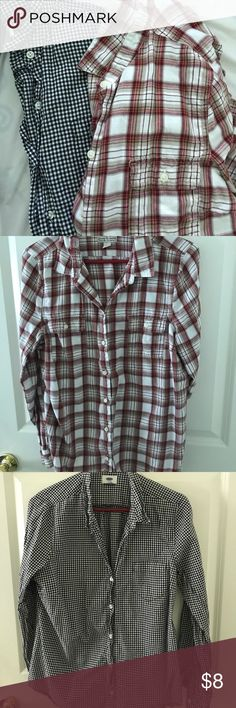 Old Navy Tops Two tops in this lot.  One light plaid flannel and one black and white checkered top.  Price listed is for both tops Old Navy Tops Button Down Shirts