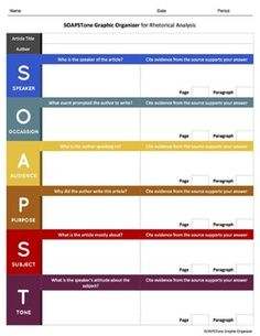 This SOAPSTone rhetorical analysis worksheet (graphic organizer) is Google Classroom Ready. No more messy formatting errors upon converting from .pdf or .docx to Google Docs; however, these file formats are also included in the download for your convenience.